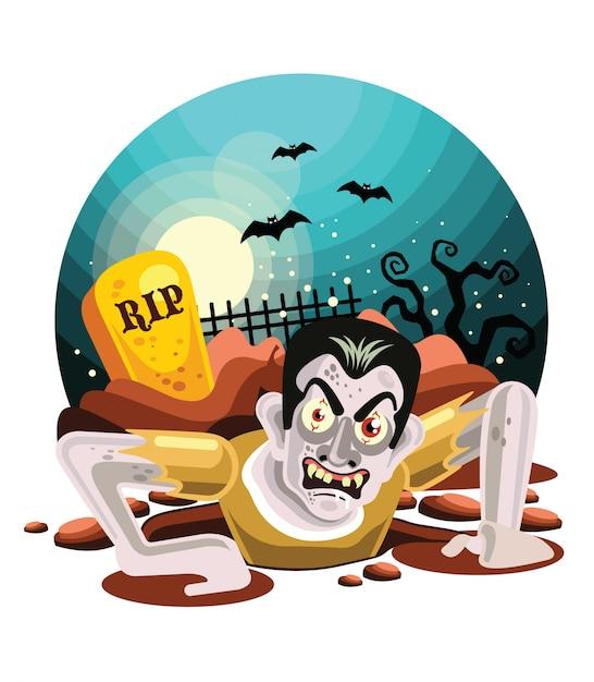 Zumbis de halloween saindo da sepultura Vetor Premium