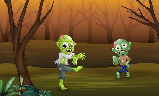 Zumbis dos desenhos animados andando na floresta Vetor Premium