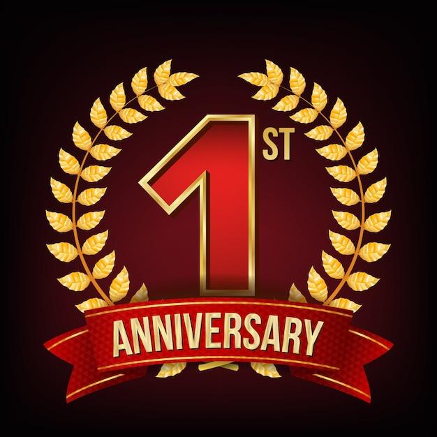 1 anno di anniversario Vettore Premium