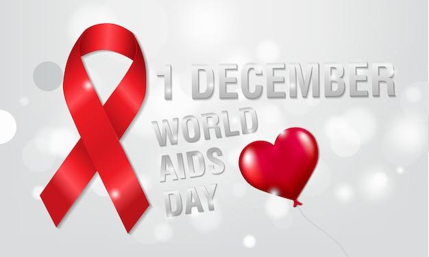 1 ° dicembre, il concetto del giorno dell'aids mondiale. nastro rosso o nastro hiv. aiuta la consapevolezza. Vettore Premium