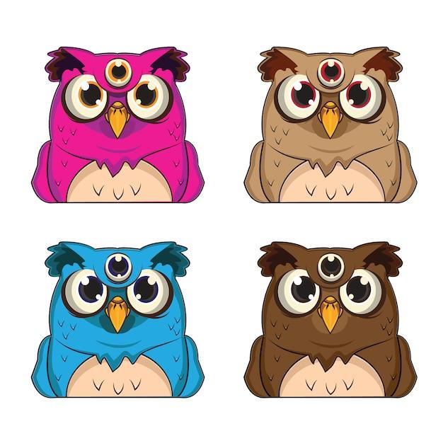 1 set di avatar animali con 4 temi gufo Vettore Premium