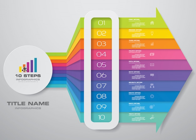 10 passi infographics elemento grafico della freccia. Vettore Premium
