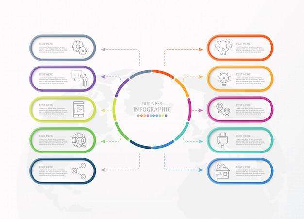 10 processo infografica e icone di affari. Vettore Premium