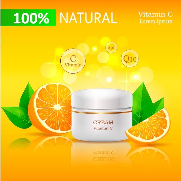 100 crema naturale con illustrazione di vitamina c. Vettore Premium
