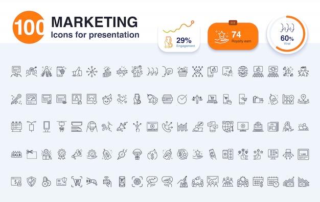 100 icona linea di marketing per la presentazione Vettore Premium