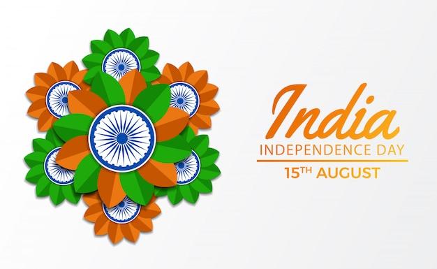 15 agosto giorno dell'indipendenza dell'india Vettore Premium