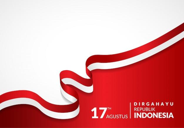 17 agosto. cartolina d'auguri felice festa dell'indipendenza dell'indonesia Vettore Premium