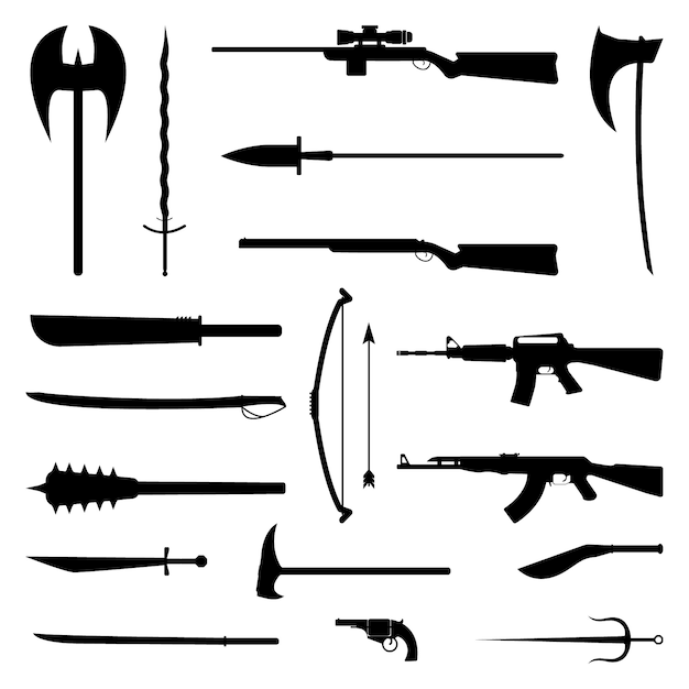 18 icone di sagoma arma. set medievale e moderno Vettore Premium