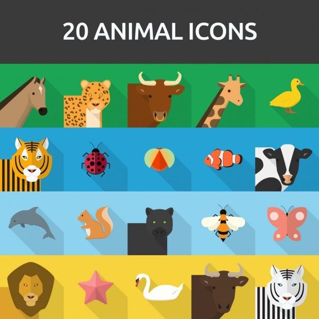 20 icone animali Vettore gratuito