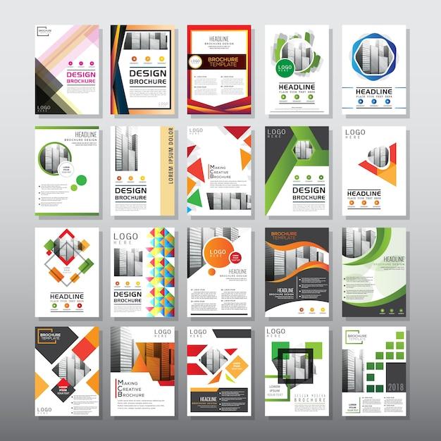 20 imposta modello di brochure Vettore Premium