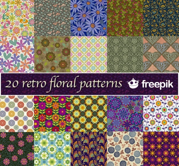 20 modelli retrò floreali freepik Vettore gratuito