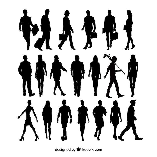 20 sagome di persone che camminano Vettore gratuito