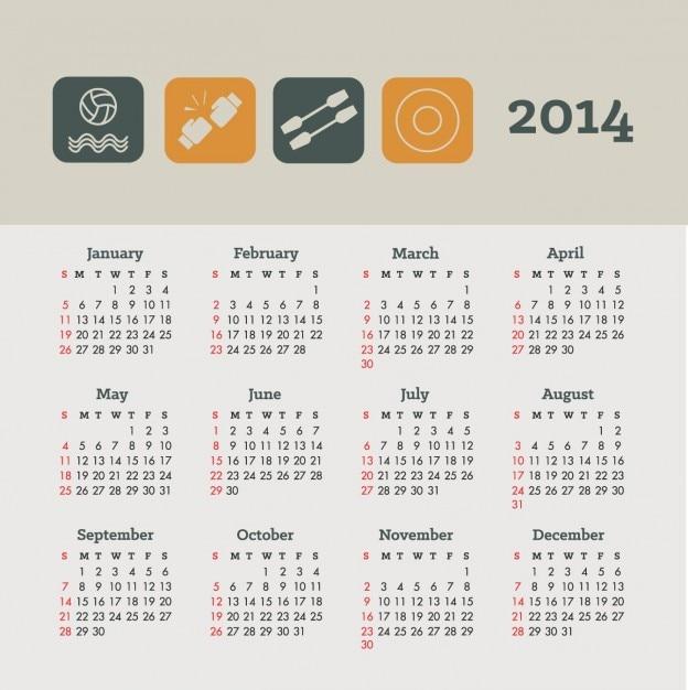 Calendario Sportivo.2014 Il Calendario Sportivo E Concetto Di Salute Di Design