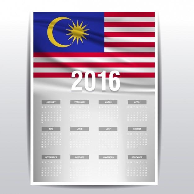 2016 calendario di malesia Vettore gratuito