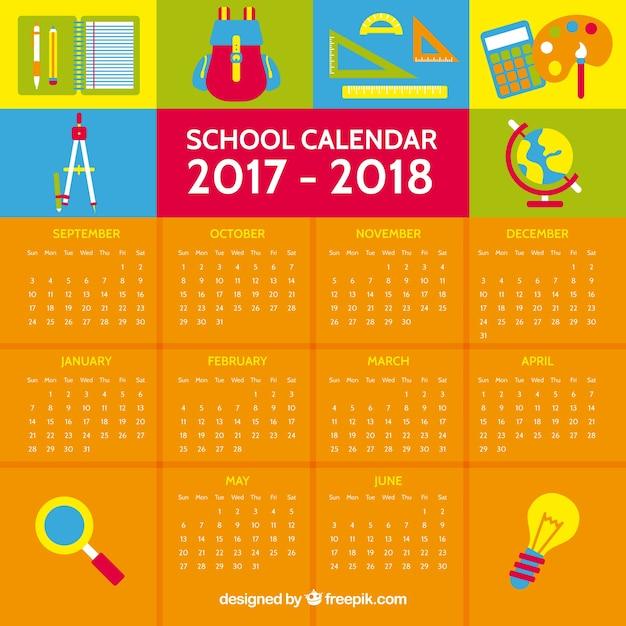 Calendario Anno 2017.2017 2018 Calendario Anno Scolastico Scaricare Vettori Gratis