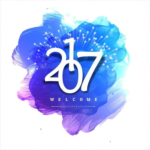 2017 anno nuovo sfondo acquerello Vettore gratuito