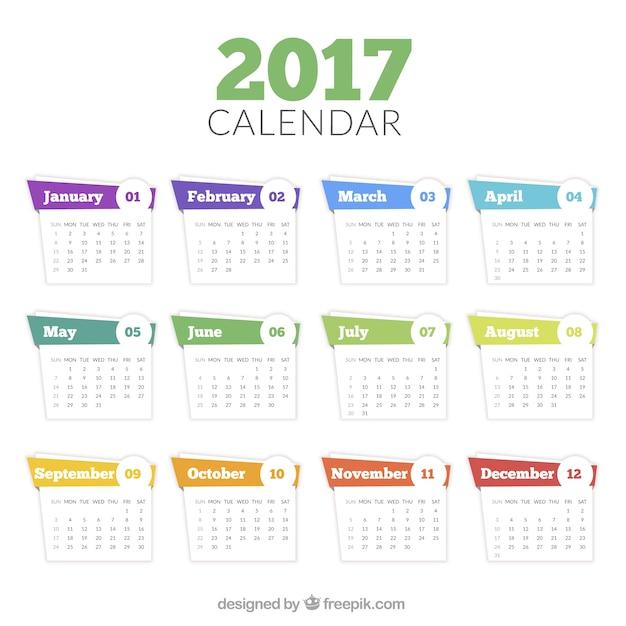 2017 modello di calendario in stile astratto Vettore gratuito