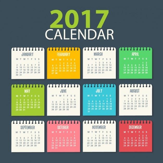 2017 modello di calendario Vettore gratuito