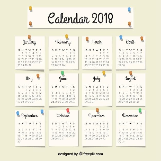 Calendario Con Note.2018 Calendario Con Note Scaricare Vettori Gratis