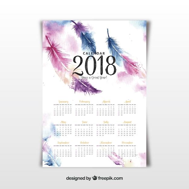 2018 calendario con piume acquarello Vettore gratuito