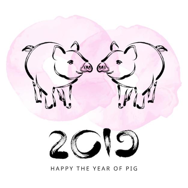 2019 capodanno cinese con maiale Vettore Premium