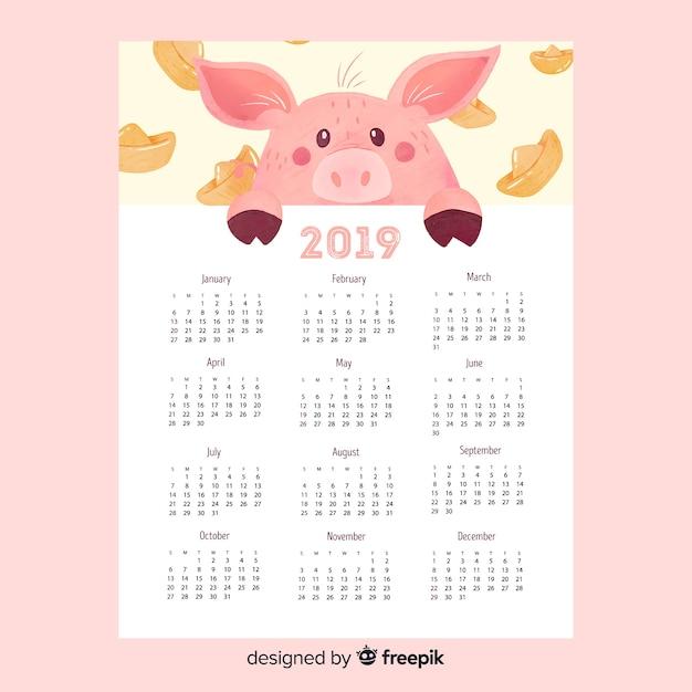 2019 capodanno cinese Vettore gratuito