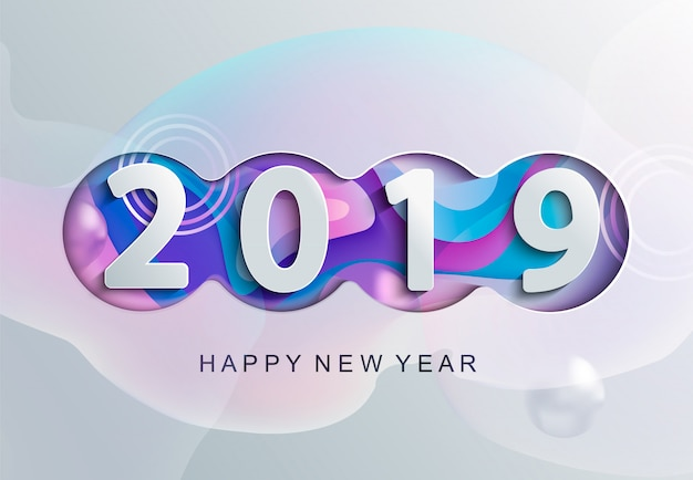 2019 carta di felice anno nuovo creativo Vettore Premium