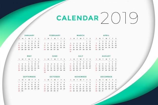 2019 concetto di progettazione del calendario aziendale Vettore gratuito