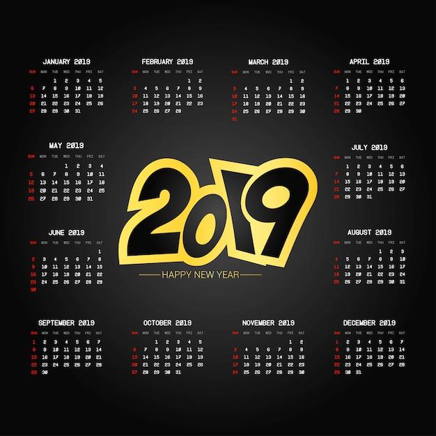2019 design del calendario Vettore gratuito