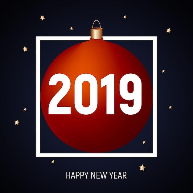 2019 felice anno nuovo, biglietto di auguri palla rossa Vettore Premium