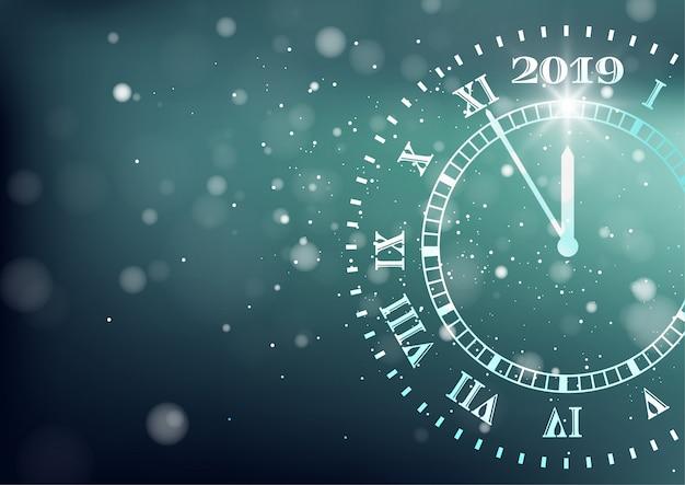 2019 felice anno nuovo sfondo. conto alla rovescia Vettore Premium