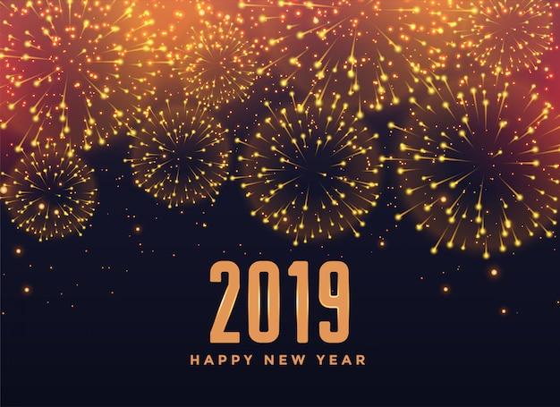2019 felice anno nuovo sfondo di fuochi d'artificio Vettore gratuito