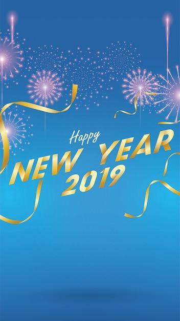 2019 felice anno nuovo sfondo per volantini stagionali Vettore Premium