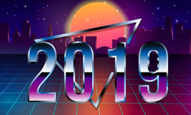 2019 lettering in 80s retro sci-fi futuristico synth retrò onda illustrazione in stile anni '80. Vettore Premium