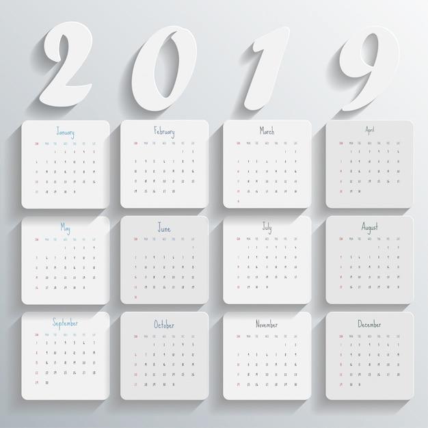 2019 modello di calendario moderno Vettore Premium