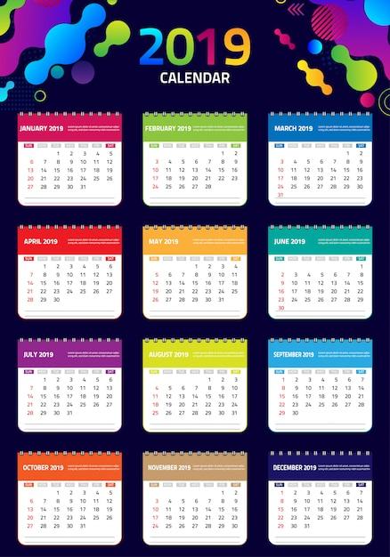 2019 modello di progettazione del calendario Vettore Premium