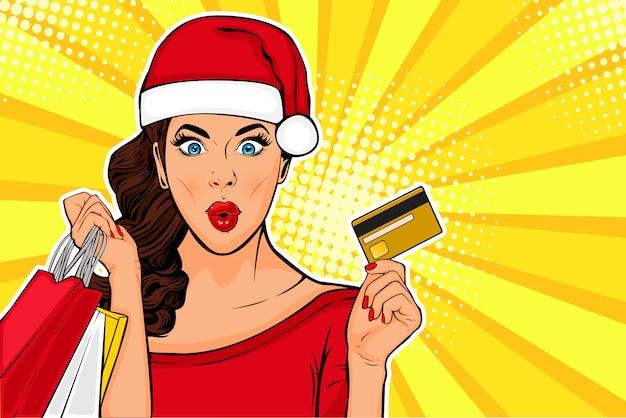 2019 new year pop art wow ragazza sexy con borse e carta di credito Vettore Premium