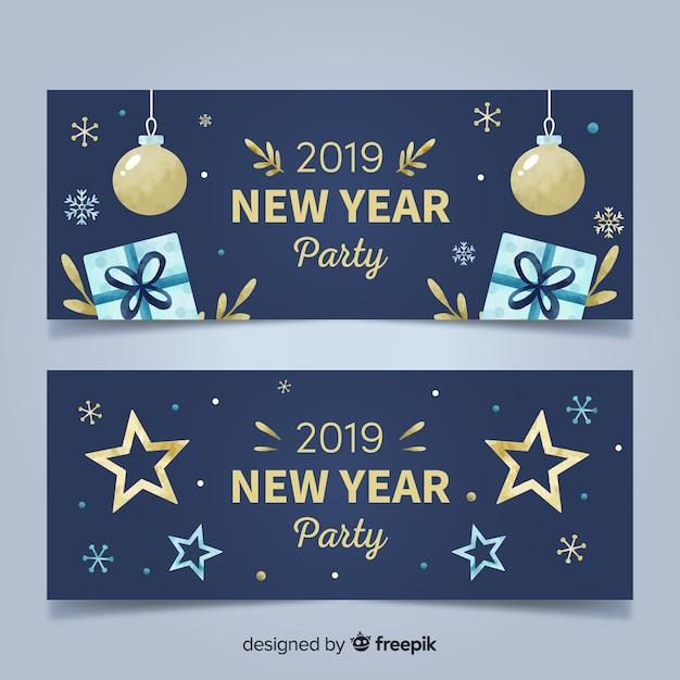 2019 striscioni di festa di capodanno Vettore gratuito