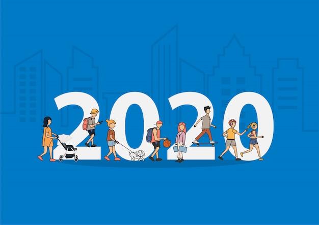 2020 capodanno persone stile di vita a piedi con grandi lettere piatte Vettore Premium
