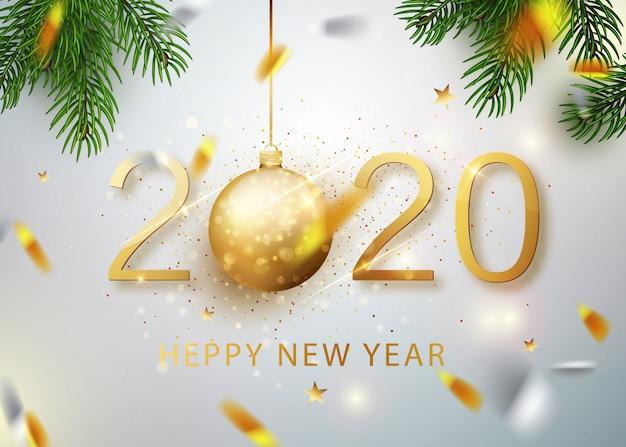 2020 felice anno nuovo. numeri d'oro del biglietto di auguri di coriandoli che cadono splendente. modello splendente d'oro. banner di felice anno nuovo con numeri 2020 su sfondo luminoso. . Vettore Premium