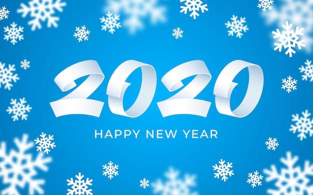 2020 felice anno nuovo sfondo, testo numerico bianco, blu, 3d astratto fiocchi di neve carta invernale Vettore Premium