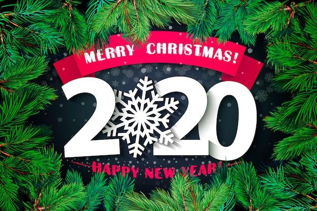 2020 felice anno nuovo sfondo. Vettore Premium