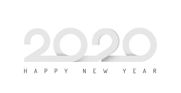 2020 nastro lettering capodanno segno su sfondo vacanze invernali Vettore Premium