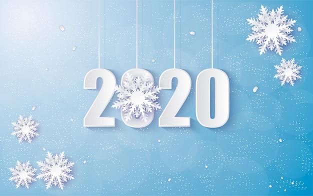 2020 sfondo di buon compleanno con sfumature invernali Vettore Premium