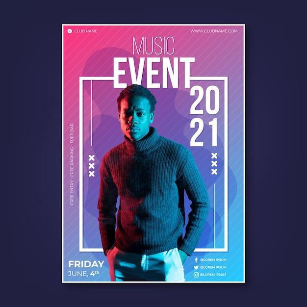 2021 poster di eventi musicali con foto Vettore gratuito
