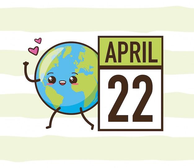 22 aprile giornata della terra, pianeta kawaii, illustrazione Vettore gratuito