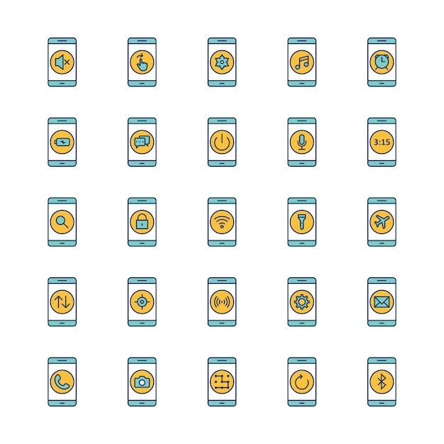 25 icone mobili app foglio isolato Vettore Premium