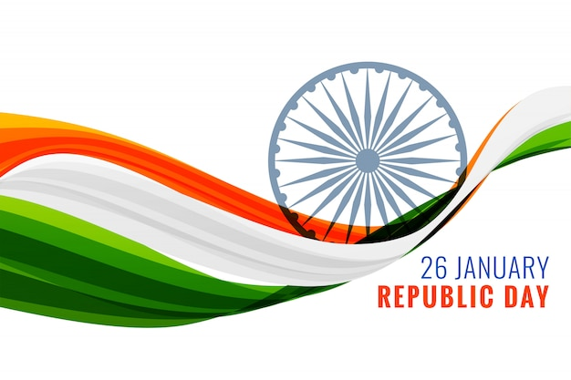 26 gennaio bandiera felice giorno della repubblica con bandiera indiana Vettore gratuito
