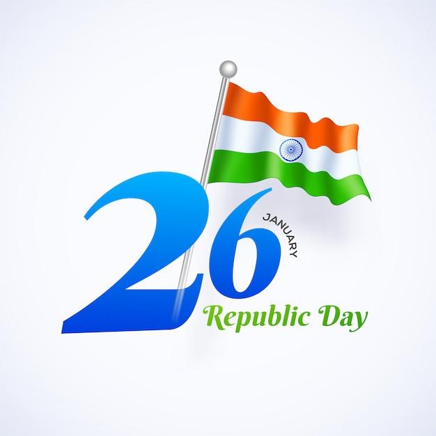 26 gennaio concetto di celebrazione della festa della repubblica Vettore Premium