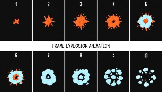 2a esplosione di animazione classica. Vettore Premium